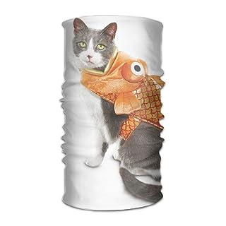 Osmykqe Headwear Multifunctional Sweatband Cat Kitten in Fish Clothes Face Mask Scarf Bandana Head Wrap Liner