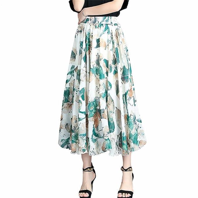 YUCH Medio Vestido De La Señora Falda Plisada De La Cintura De La Gasa De Los