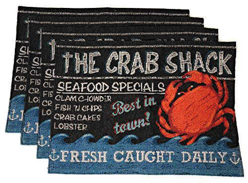 Windham Coastal Nautical Tapestry Placemats Place Mats Set of 4, The Crab Shack