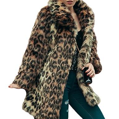 eeeefe63fa4f3 Raylans Women s Winter Long Sleeve Leopard Print Lapel Faux Fur Coat  Outwear Jacket