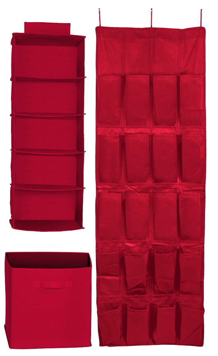 Sorbus Closet And Drawer Organizers Set, Red