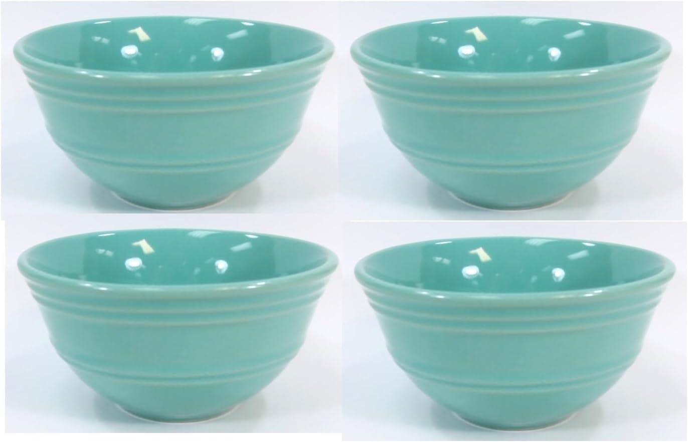 Set of 4 Mainstays Aqua Rain Forest Small Ceramic Fruit or Dessert Bowls 4.25 inch