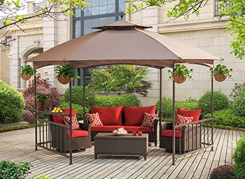 Sunjoy 11.4'X 13.2' Madison Pavilion Hex Shape Soft Top Gazebo with Serving...