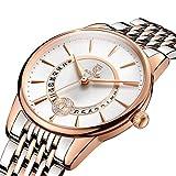 ROCOS Women's Watch Japanese Quartz 9 Rhinestone Rose Gold Luxury Wrist Watch Waterproof Stainless Steel Bracelet Bangle Watches Calendar for Ladies Gift