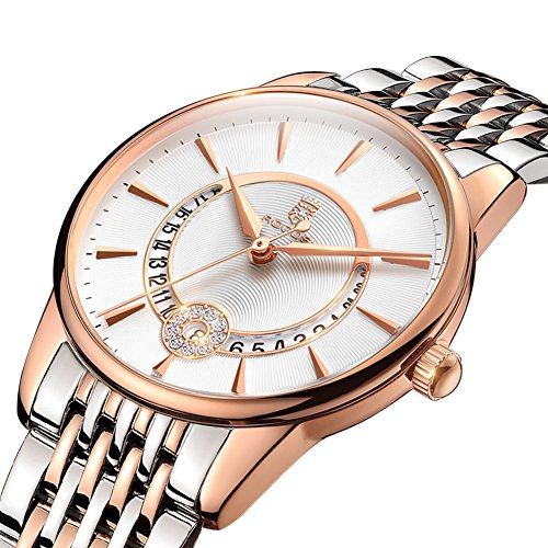 Women's Wrist Watch ROCOS Japanese Quartz Rose Gold Dress Watch with White Dial Ladies Crystal Analog Watches Luxury Classic Elegant Gift - Ladies Wristwatches