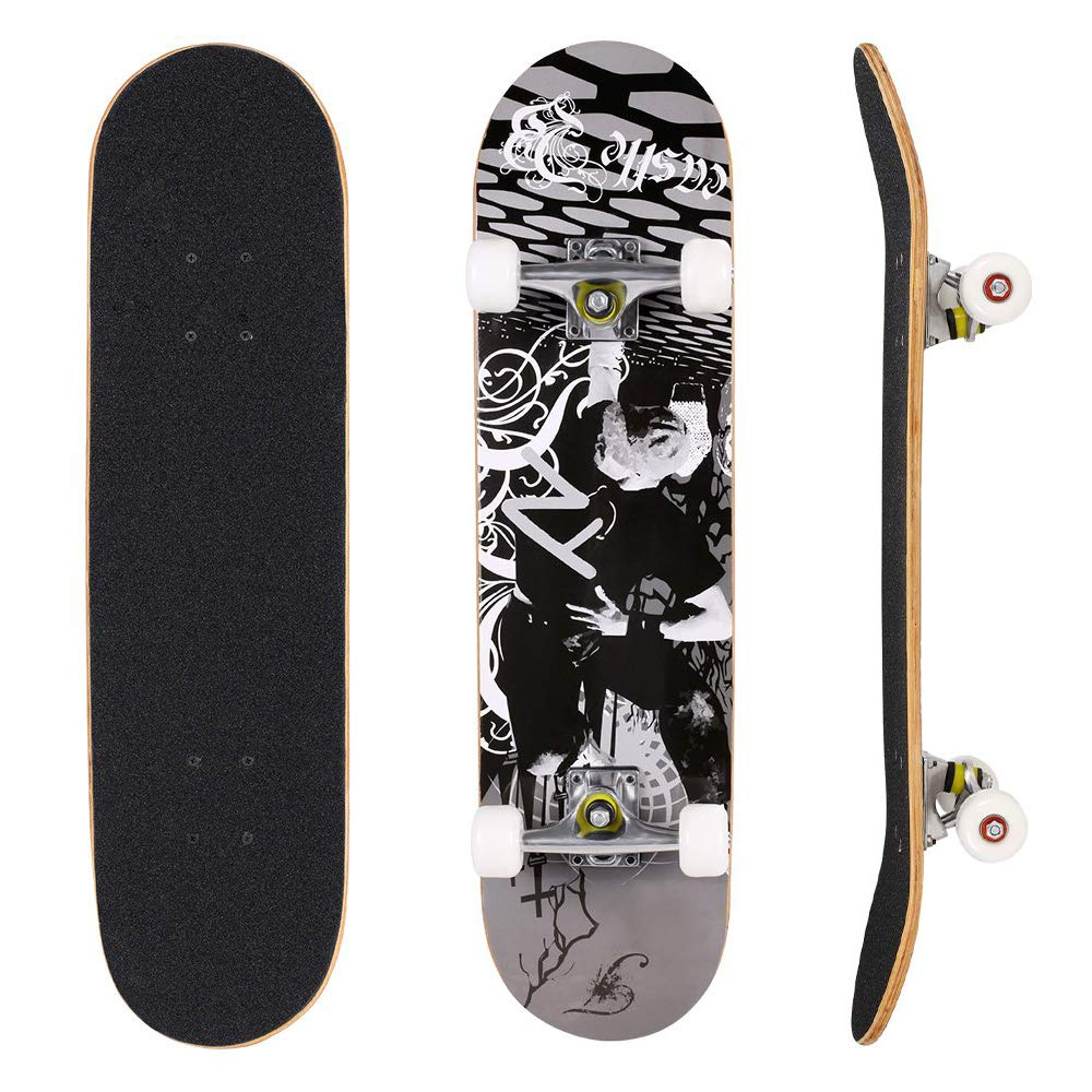 YUEBO Skateboard 31'' x 8'' Complete PRO Skateboard, Double Kick Concave Design 9 Layer Canadian Maple Wood Adult Tricks Skate Board for 5 Up Years Old Beginner, Kids, Boys, Girls