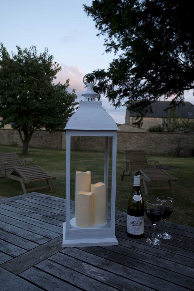 Smart Garden Giant Cream Battery Powered Lantern with 3 Candles in Copper or Cream (Natural) Smart Garden Products