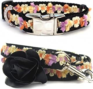 "product image for Diva-Dog 'Coco Maize' Custom Small Dog 5/8"" Wide Dog Collar with Plain or Engraved Buckle, Matching Leash Available - Teacup, XS/S"