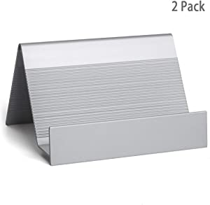Business Card Holder Aluminum Business Card Display Stand Desktop Organizer, High-end New Series (Silver) 2 Pack