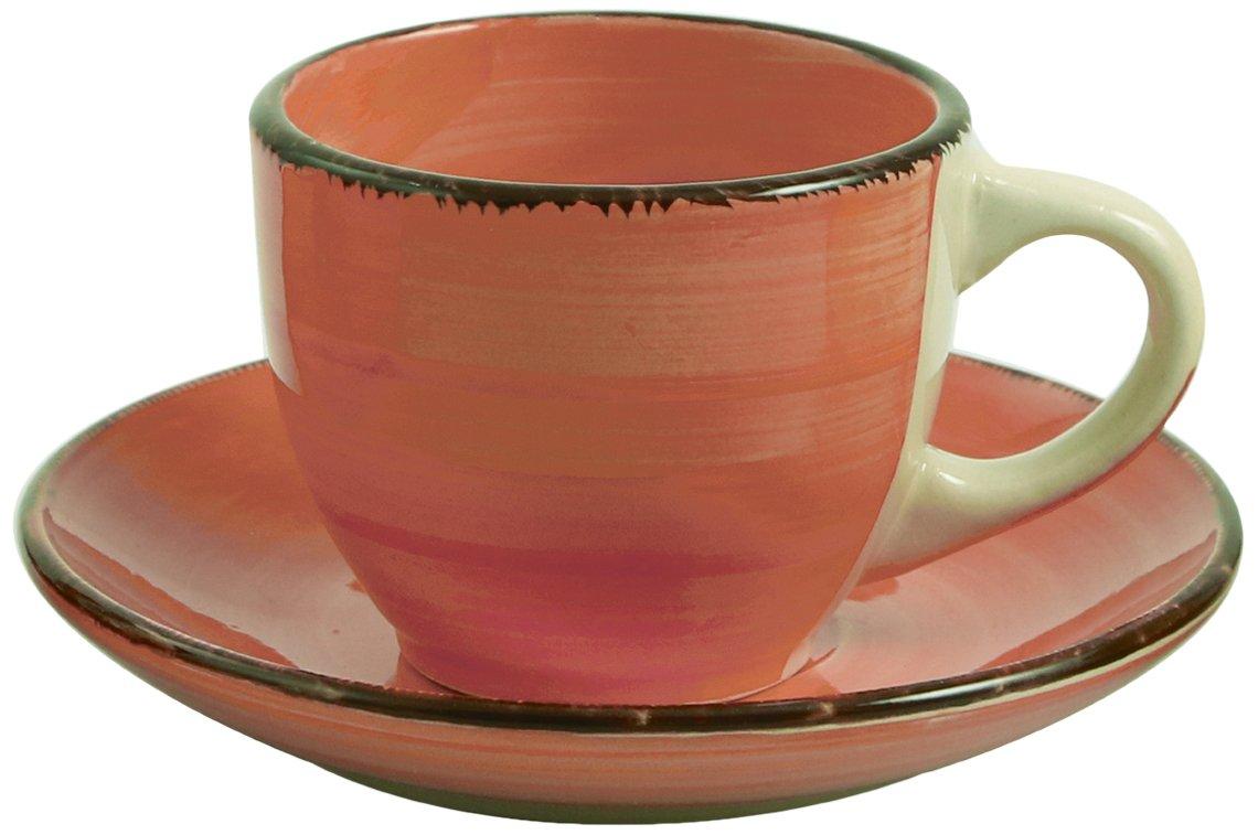 Villa D'Este 6 cup Set with saucers Baita, hand-painted glazed stoneware, violet Villa d'Este Home Tivoli 2178154