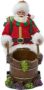 Kurt Adler Barrel Wine 10-Inch Fabriché Santa with Bottle Holder, 2 Piece