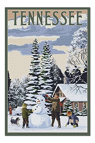 Tennessee - Snowman Scene (20x30 Premium 1000 Piece Jigsaw Puzzle, Made in - Tennessee Snowman