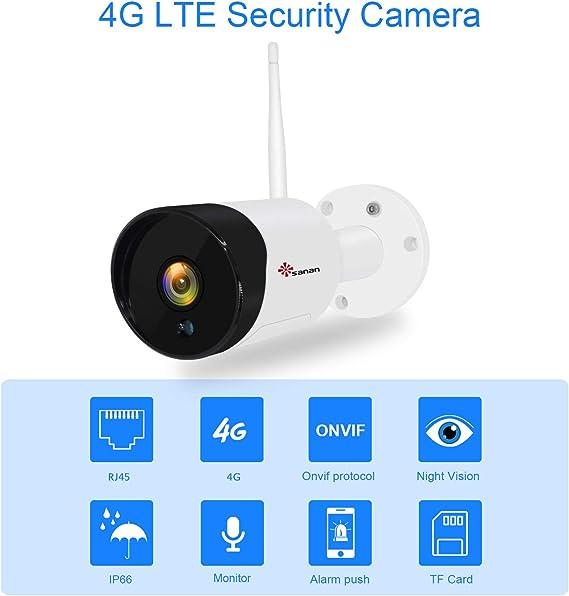 Amazon.com: Cámara de seguridad 4G LTE, tarjeta SIM, cámara ...