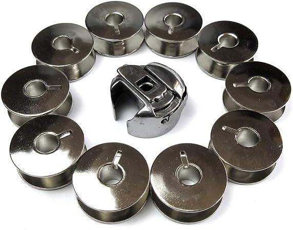 Caja de bobina + 10 bobinas para Singer Quantum Cxl, Xl10, Xl50 Bernette 320, 330, 340, 430: Amazon.es: Hogar