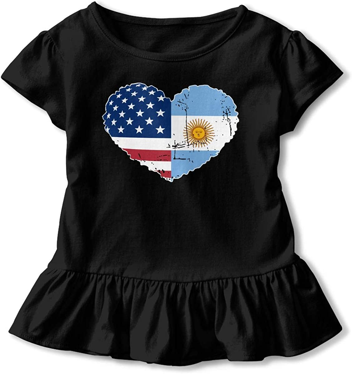 2-6 Years Vfbggg-Shirt Argentina USA Flag Heart Baby Girls Short Sleeve Ruffle Tee Cotton Kids T Shirts
