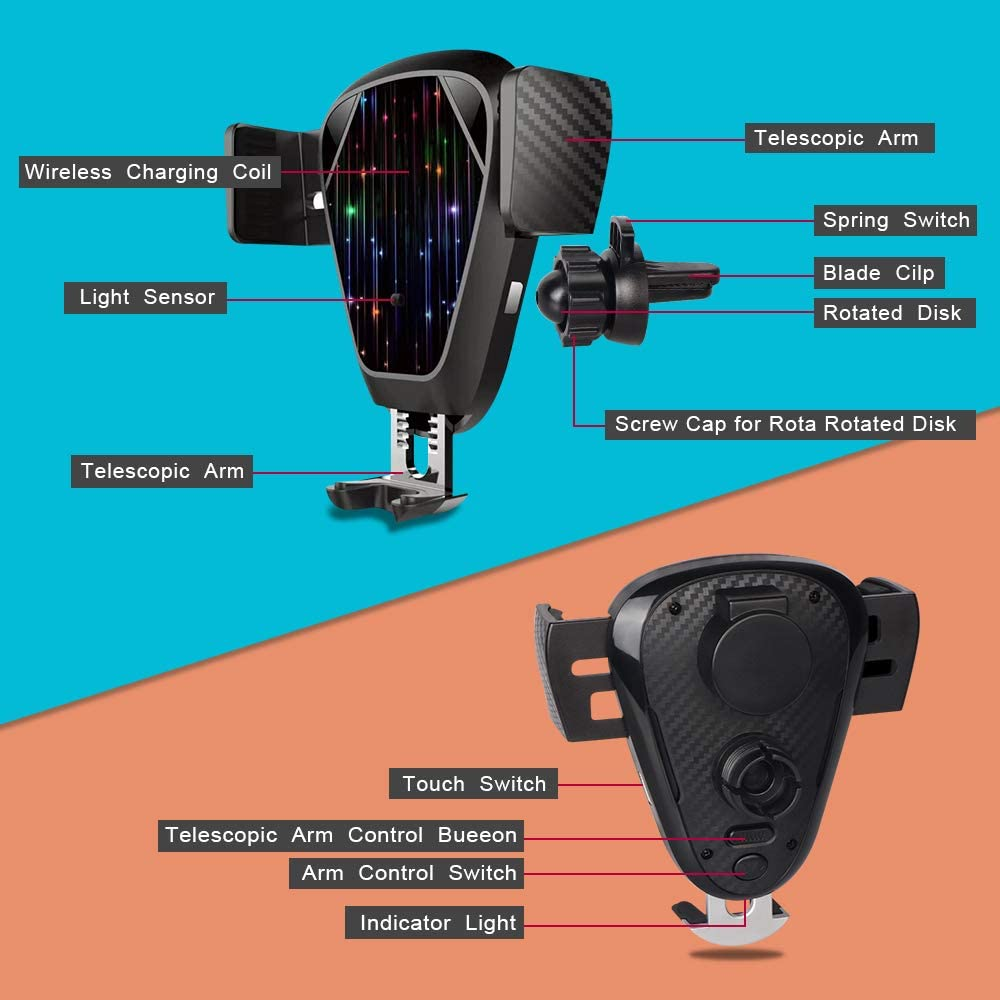 Wireless Car Charger,Automatic Retractable 10W// 7.5w Qi Wireless Fast Charging Car Mount,Compatible with iPhone 11//11 Pro// 11 Pro Max//XS//XS Max//XR//X//8//8+, Samsung Note 10//S10//S10+te 9//S9//S8//S8+