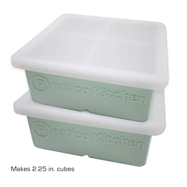 Praticube Large Ice Cube Mold - 4 Large 2.25 Inch Ice Cubes - Prevent Diluting Your Scotch, Whiskey, Cocktails - 2 Pack with Lids