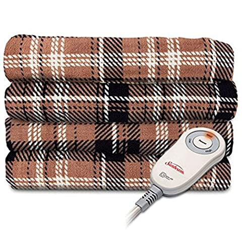Sunbeam Imperial Plush Heated Electric Throw – Plaid Pattern - Plaid Electric Blanket