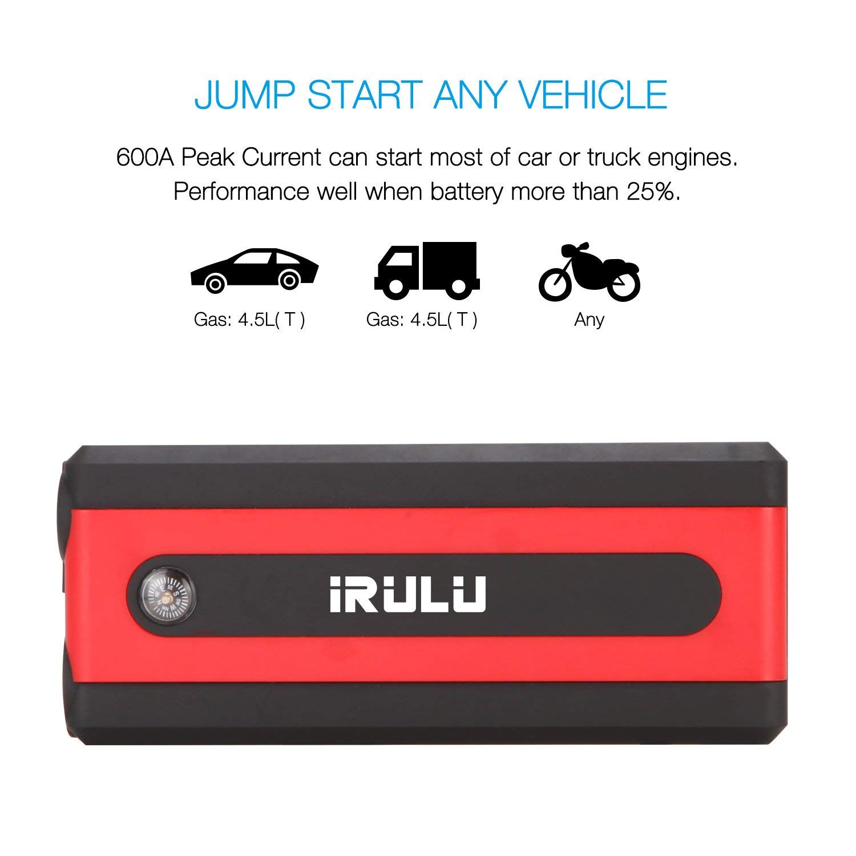 iRULU 600A 13600mAh Auto-Sprungsstarter tragbarer Notstrom-Laptop-Powerbank Battery Booster mit Kompass bis zu 6 Liter Benzin, 4,5 Liter Dieselmotor