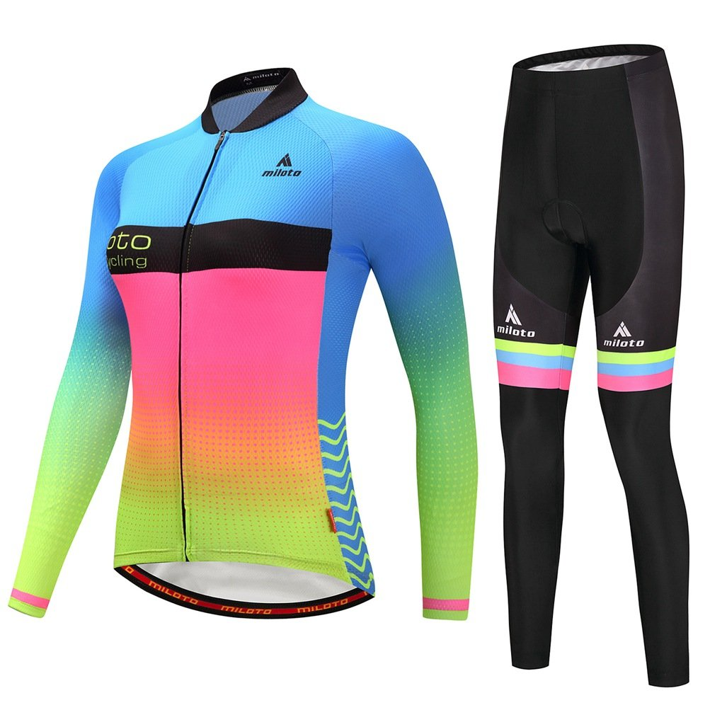 Uriah Women's Cycling Jersey and Pants Sets Long Sleeve Reflective Miloto