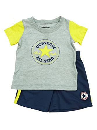 Converse All Star Infant Boys Gray Yellow Shirt   Navy Blue Mesh Shorts Set  24m 7bae14371