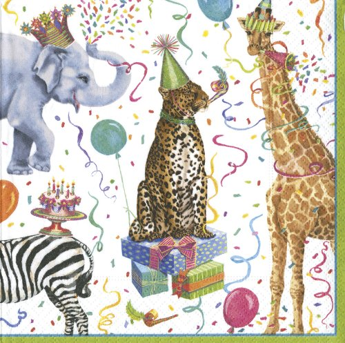 Caspari - Birthday Party Safari Animals Napkins, Elephant, Cheetah, Giraffe, Pack of 20 ()