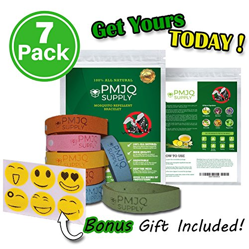 Mosquito Repellent Bracelet - 7 Pack + Bonus Gift, Keep Bugs/Insects Away This Summer! 100% All Natural, Non-Toxic, Safe for Kids, Deet-Free! Materials! Perfect for Outdoor Activities! (Light Keep Bugs That Away Bulbs)