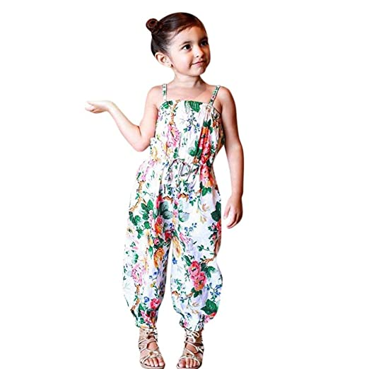 17b3fe285c53 Goodlock Infant Kids Fashion Rompers Baby Girls Floral Print Sleeveless  Strap Jumpsuit Outfits (Size