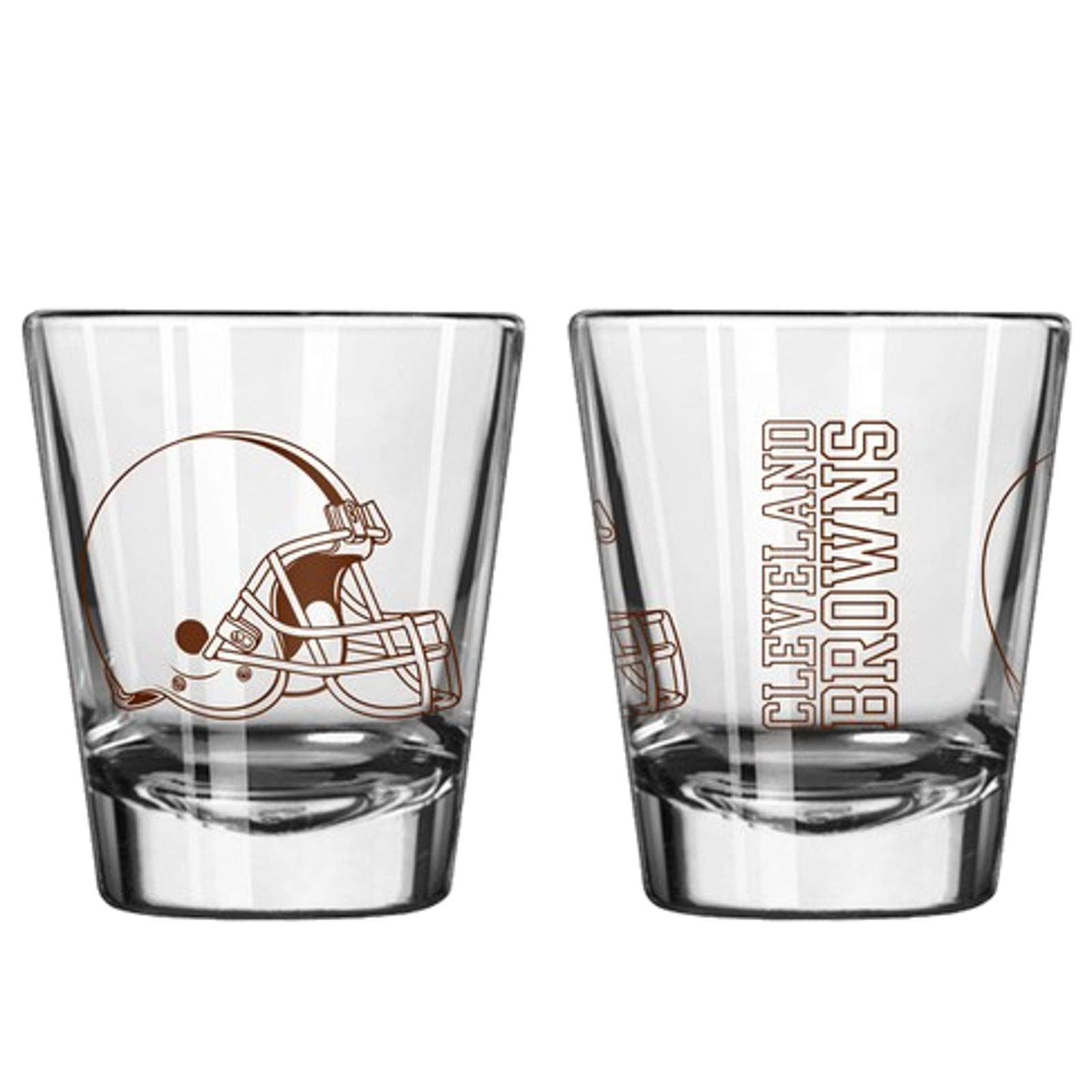 Official Fan Shop Authentic NFL Logo 2 oz Shot Glasses 2-Pack Bundle. Show Team Pride at Home, Your Bar at The Tailgate. Gameday Shot Glasses a Goodnight (Cleveland Browns)