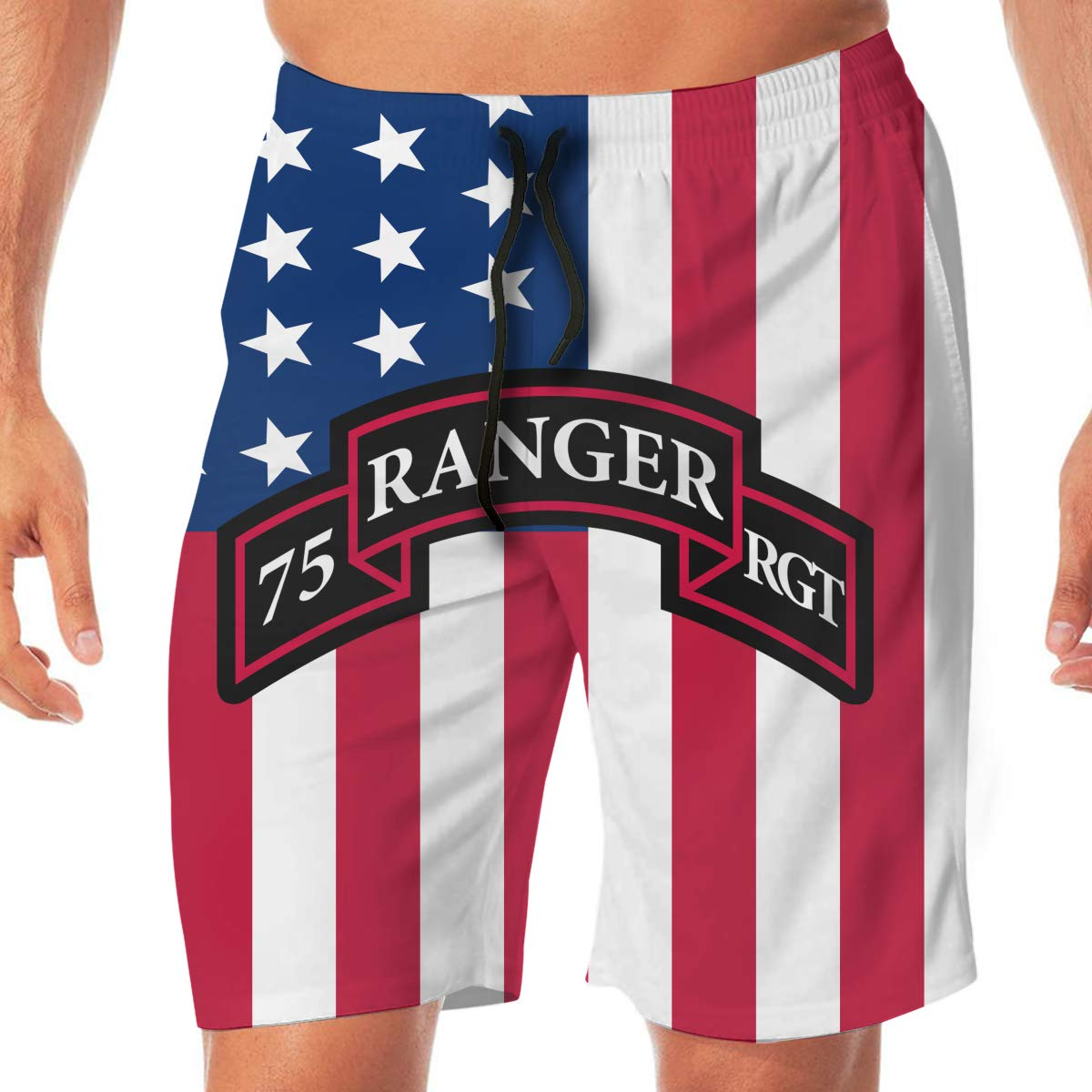 Army 75st Ranger Regiment Mens Classic Swim Beach Shorts with Pockets