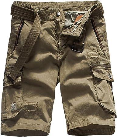 Pantalones Cortos Cargo para Hombre Múltiples Bolsillos Cómodo ...