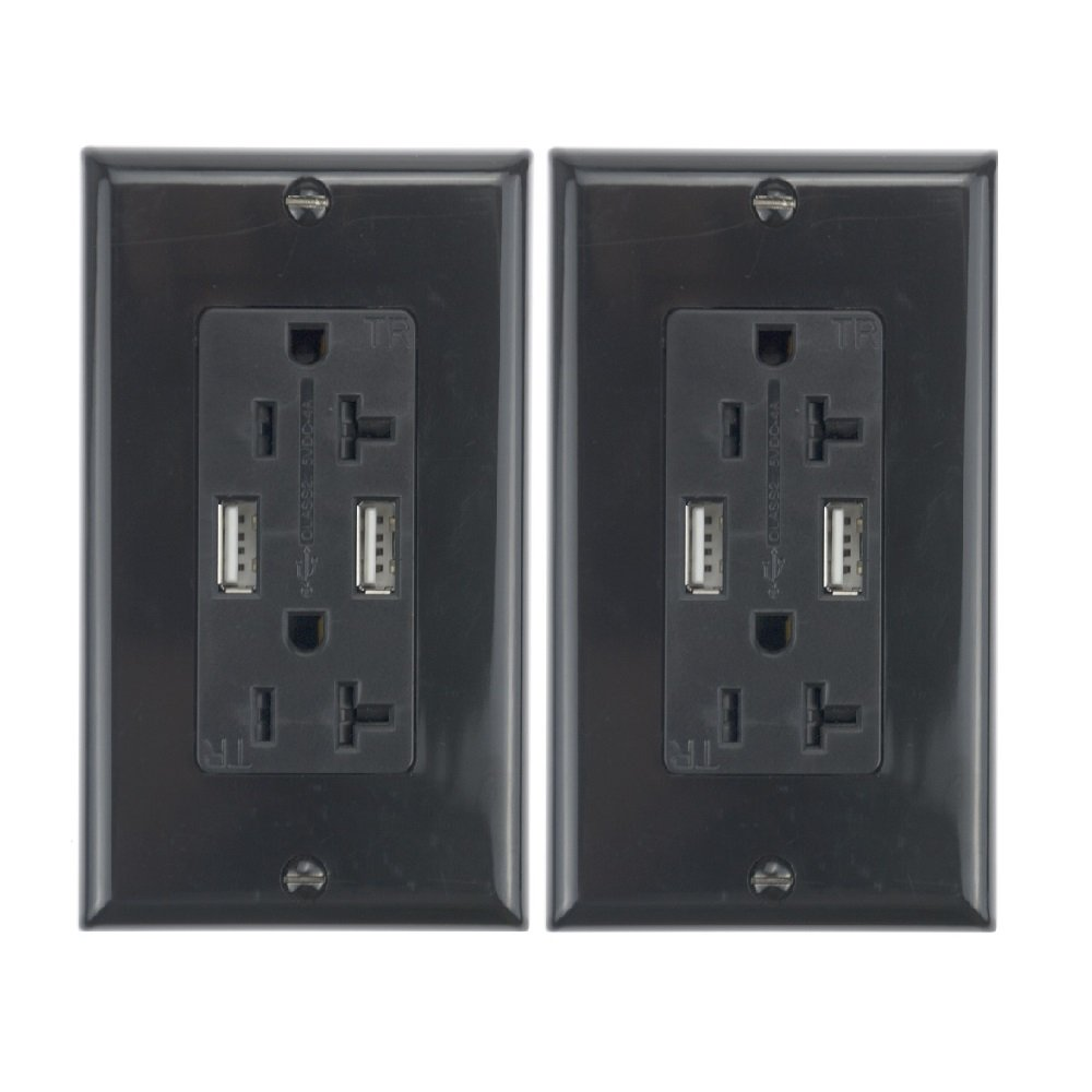 A ADWITS Dual USB Wall Charger Outlet - with 20Amp/125V/2500W TR Duplex Receptacle and 4.0Amp/5V/20W Ultra High Speed USB Charger Dual USB Port, ETL Certified Safety, Black (2 Pack)