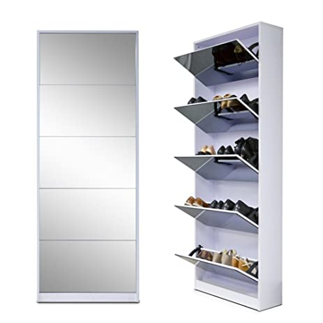 Amazon.com - Organizedlife White Wooden Shoe Cabinet Mirror Shoe ...