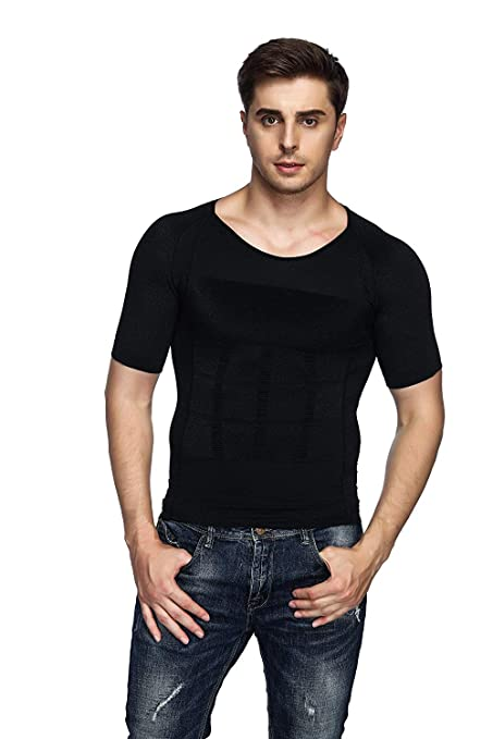 cb62ec0419b3d Odoland Men s Body Shaper Slimming Shirt Tummy Waist Vest Lose Weight  Shirt
