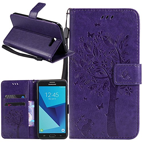 Galaxy J7 V Case, Galaxy J7 Perx Case, Galaxy J7 Sky Pro Case, Linkertech [Kickstand Feature] PU Leather Wallet Flip Pouch Case Cover with Wrist Strap & Card Slots for Samsung Galaxy J7 2017 (B-4)