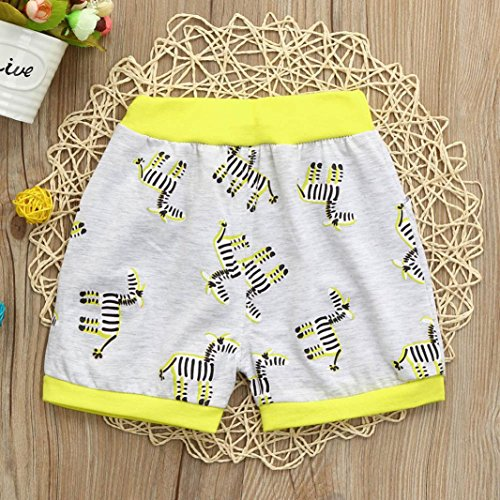 Ankola Children Summer Cartoon Zebra Print Shorts Toddler Kid Baby Boys Summer Casual Cotton Blend Shorts Pants with Pockets (Yellow, 6M) by Ankola (Image #2)