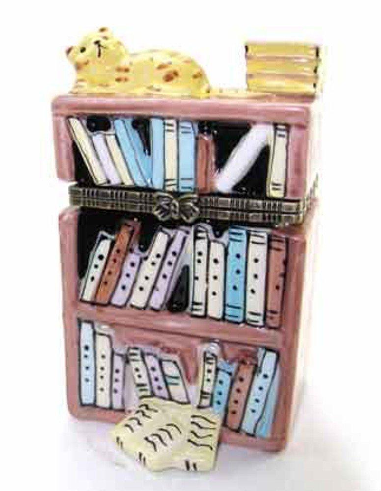 Art Gifts Bookcase Sleeping Cat Kitten Hinged Trinket Box phb