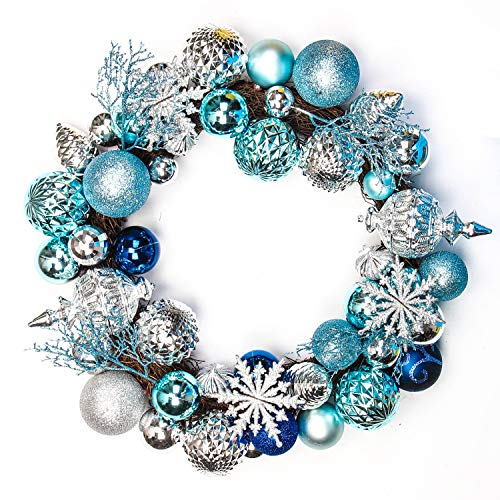 Jusdreen 20 Inches Christmas Wreath Ball Ornaments Shatterproof Balls for Front Door Window Hanging Xmas Decorations Blue&Silver (Ball Wreath)