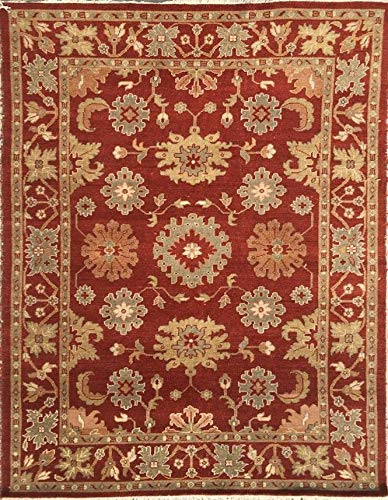(Red Area Rug Hand Knotted Traditional and Oriental Design in 8x10 Size | Hand Spun Wool | Made by Indian Villagers | for Indoor use | Looks Great with Restoration Furniture)