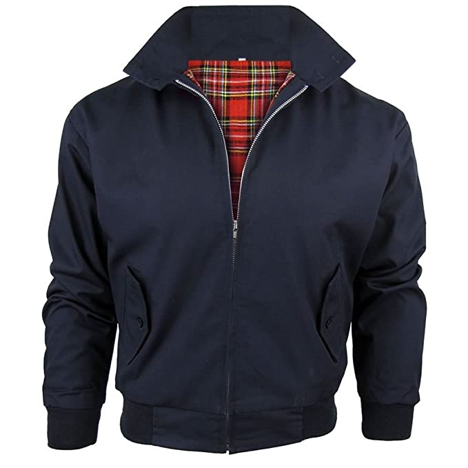 d8ffb1949 Army And Workwear Harrington Jacket with Tartan Lining British Made Mens  Zip Up Classic Bomber
