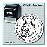 French Bulldog Return Address Monogram Stamp | Frenchie | Bouledogue Français | MS-R57
