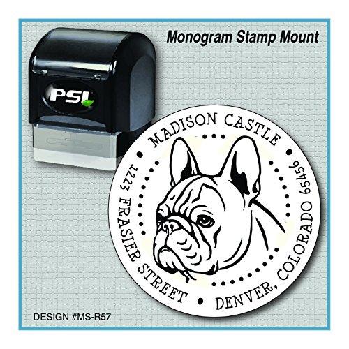 French Bulldog Return Address Monogram Stamp   Frenchie   Bouledogue Français   MS-R57 by ZipStampZ