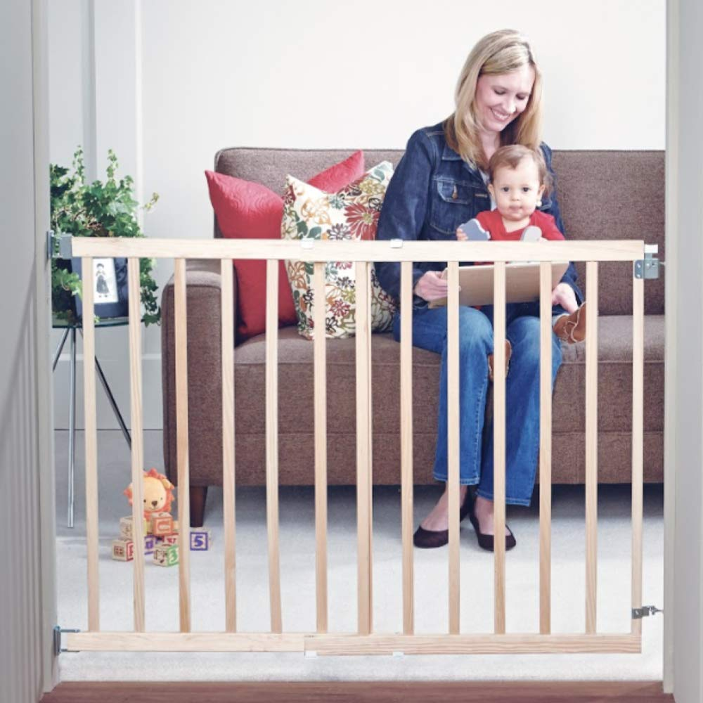 Toddleroo By North States 42 Wide Stairway Swing Baby Gate Ideal For Standard Stairways Swing Control Hinge One Hand Operation Hardware Mount Fits 28 42 Wide 30 Tall Sustainable