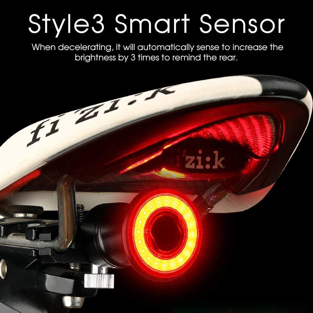 Ricklicht Mit Reflektor Usb Wiederaufladbares Fahrrad R/ücklicht Smart Auto Brake Sensing Licht Radfahren Led R/ücklicht Wasserdichte Mtb Rennrad R/ückleuchte-Style 3-Sattel-Modus