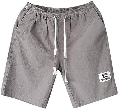Fashion! SFE Men Summer Shorts,Mens Summer Leisure Flax Large Size Loose Belt Drawstring Beach Shorts Gray