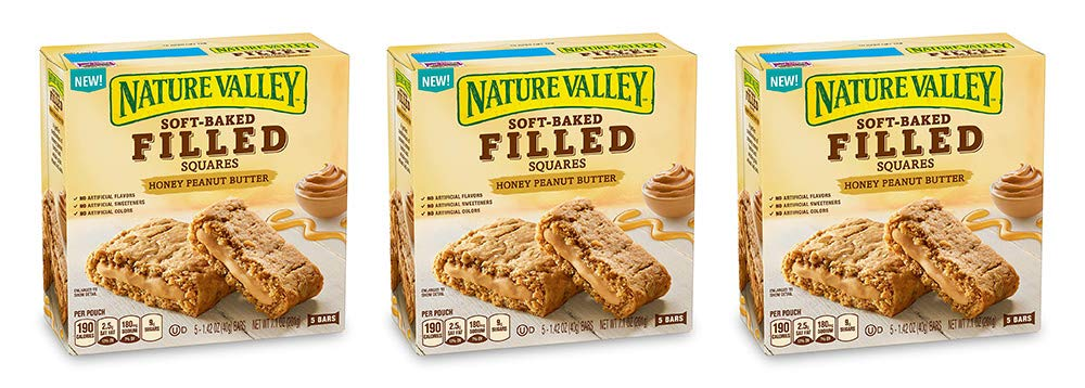 Nature Valley Soft Baked Filled Squares Honey Peanut Butter, 5 Bars (3 Boxes)