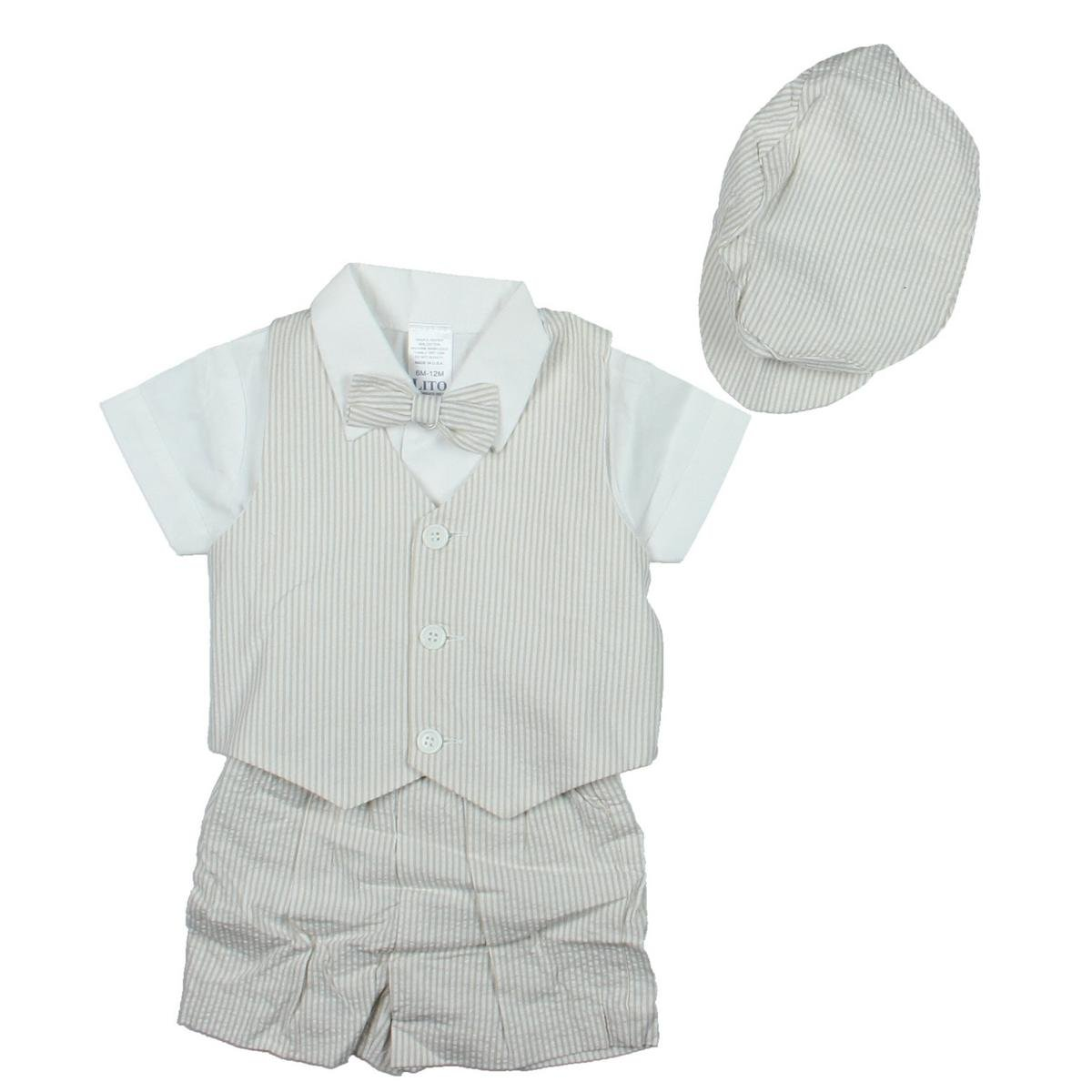 Amazon.com: Lito Baby Boys White Seersucker 5 Pc Vest Outfit Size 4T:  Infant And Toddler Shorts Clothing Sets: Clothing