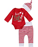 GSHOOTS Baby Boy Girls' 3pcs Set 'Best Gift Ever' Red Romper + Striped Pants + Hat Outfit