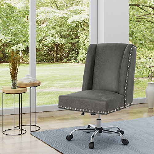 Christopher Knight Home 304856 Quentin Desk Chair, Slate + Chrome