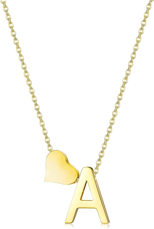 Fashion Gold Tone Initial Alphabet Letter A-Z Love Heart Pendant Chain Necklace